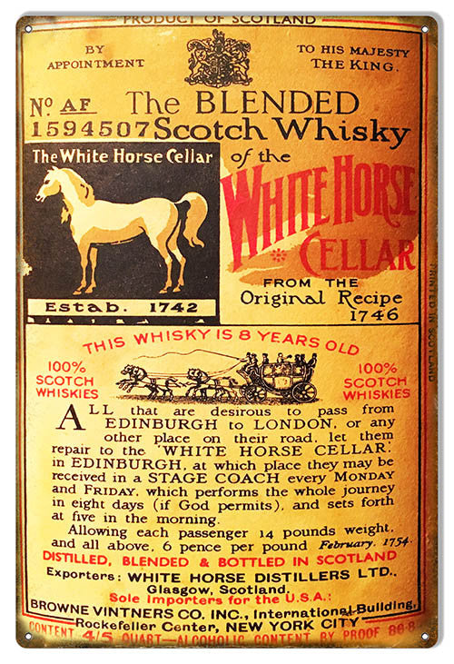 White Horse Cellar Whiskey Reproduction Bar Metal Sign 12″x18″