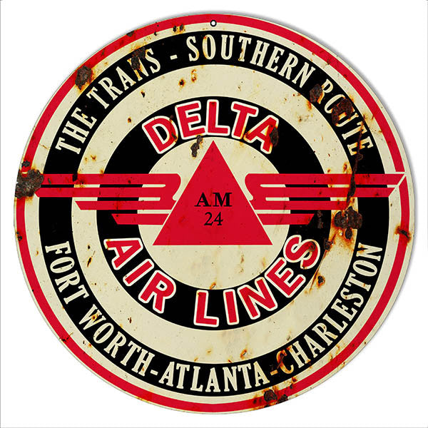 Distressed Delta Airlines Reproduction Nostalgic Metal Sign 14″x14″