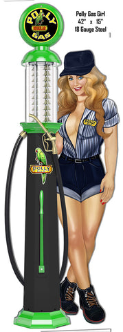 Pin Up Polly Girl Gas Pump Reproduction Metal Sign 15″x42″