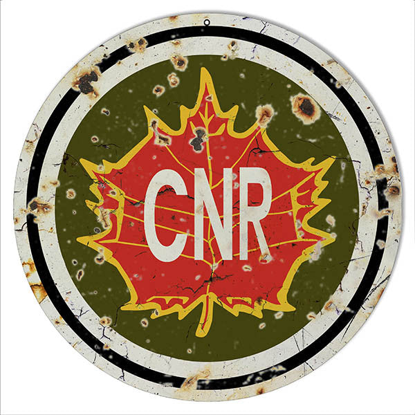 Aged Looking CNR Railroad Reproduction Metal Sign 14″x14″ Round