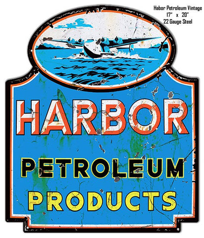 Distressed Harbor Petroleum Laser Cut Out Reproduction Metal  Sign 17″x20″