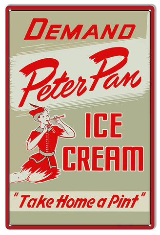 Peter Pan Ice Cream Reproduction Country Metal  Sign 12″x18″