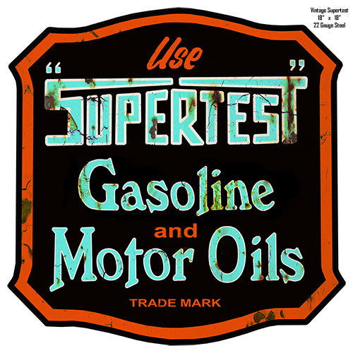 Aged Looking Supertest Reproduction Laser Cut Out Metal Motor Oil