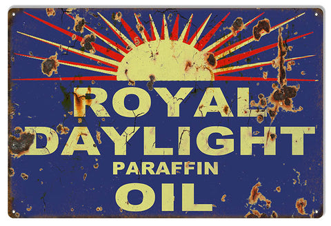 Distressed Royal Daylight Reproduction Motor Oil Metal  Sign 12″x18″