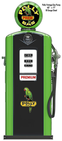 Polly Gas Station Pump Laser Cut Out Reproduction Metal  Sign 17.5″x42″