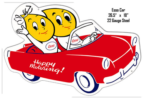 ESSO Happy Motoring Reproduction Metal Laser Cut Out 18″x26.5″ Sign