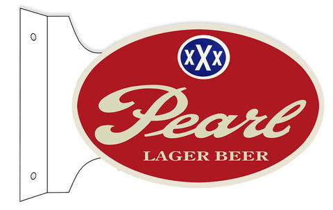 Pearl Lager Double Sided Flange Oval Reproduction Metal  Sign 12″x18″