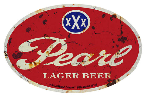 Pearl Lager Beer Oval Bar Reproduction Metal  Sign 11″x18″