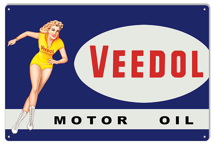 Large Veedol Pin Up Girl Reproduction Motor Oil Metal  Sign 16″x24″
