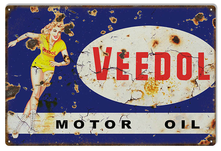 Large Aged Veedol Pin Up Girl Reproduction Motor Oil Metal  Sign 16″x24″