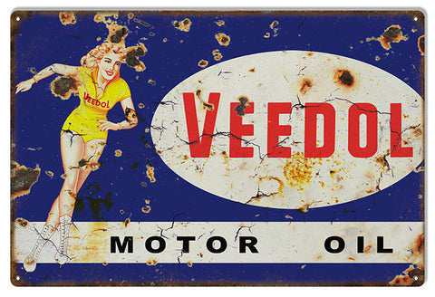 Distressed Veedol Pin Up Girl Motor Oil Reproduction Metal  Sign 12″x18″