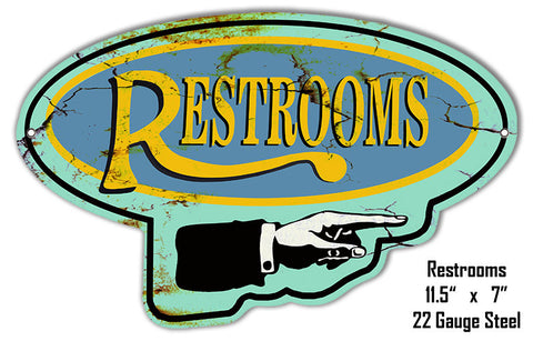 Right Restrooms Laser Cut Out Reproduction Metal  Sign 7″x11.5″