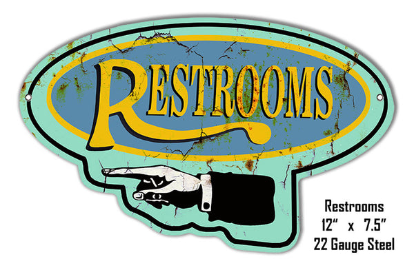 Left Side Restroom Laser Cut Out Reproduction Metal  Sign 7″x11.5″