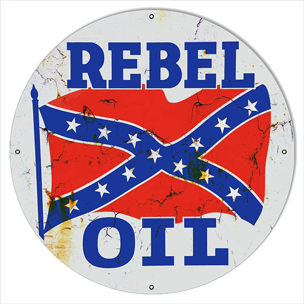 Distressed Rebel Motor Oil Reproduction Metal Sign