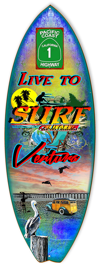 Live To Surf Ventura By Artist Phil Hamilton 8″x23″ Metal
