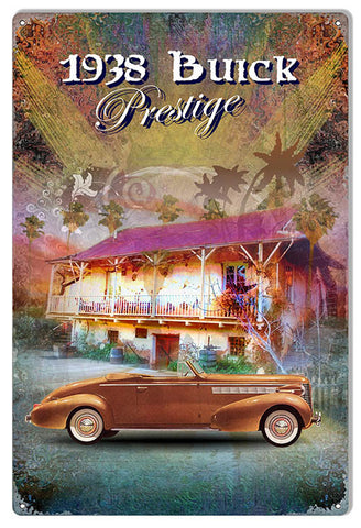 1938 Buick Prestige By Artist Phil Hamilton Reproduction Metal  Sign 12″x18″