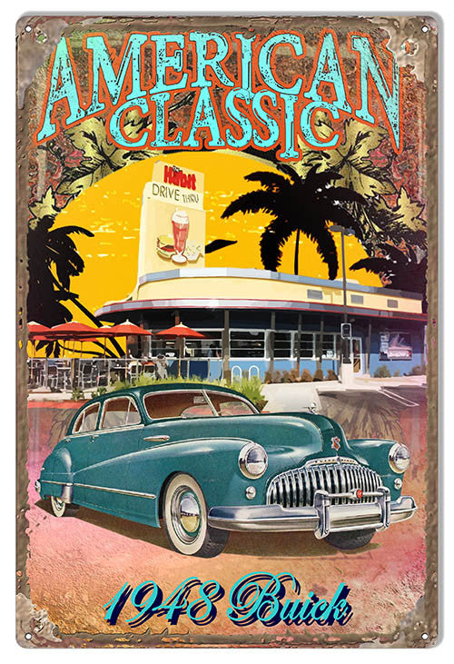 Classic 1948 Buick By Artist Phil Hamilton Reproduction Metal  Sign 12″x18″