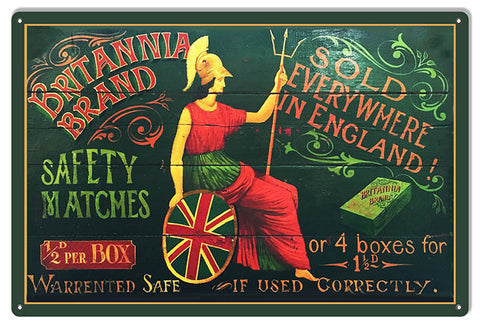 "Brittania Brand Matches Cigar Reproduction Metal  Sign. 12""x18"""