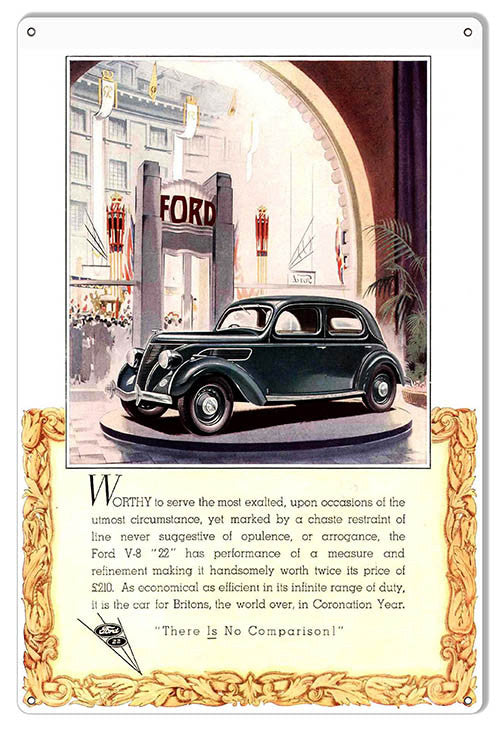Ford V-8 No Comparison Vintage Automobile Reproduction Metal  Sign 12″x18″