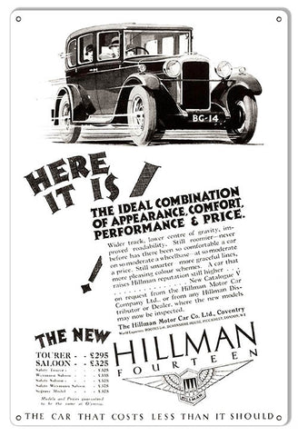 Hillman Fourteen Vintage Automobile Reproduction Metal  Sign 12″x18″