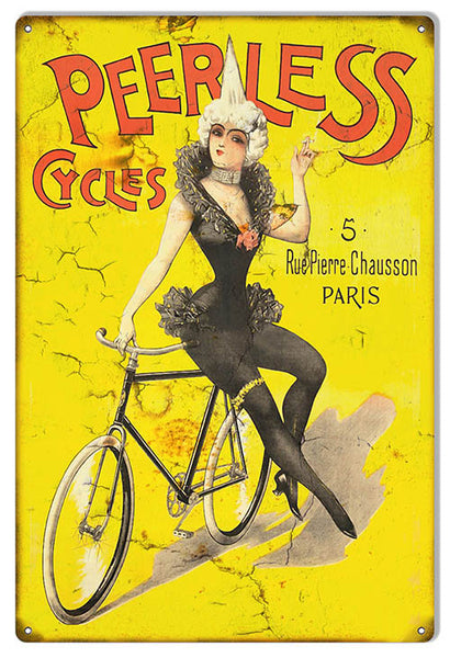 Peerless Cycles Nostalgic Reproduction Metal  Sign 12″x18″