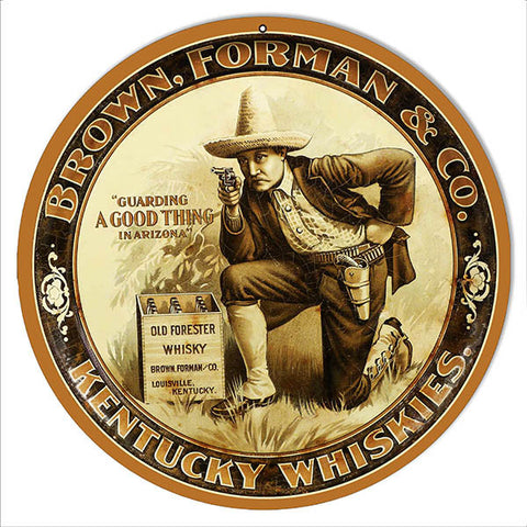 Brown Forman Whiskies Bar Reproduction Metal  Sign 14″x14″ Round