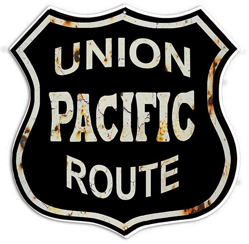 Distressed Reproduction Union Pacific Route Railroad Metal  Sign 15″x15″
