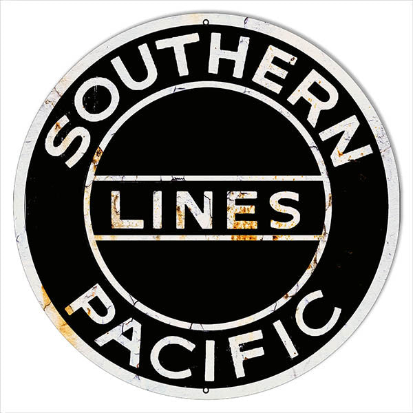 Large Reproduction Southern Pacific Lines Railroad Metal  Sign 18″ Round