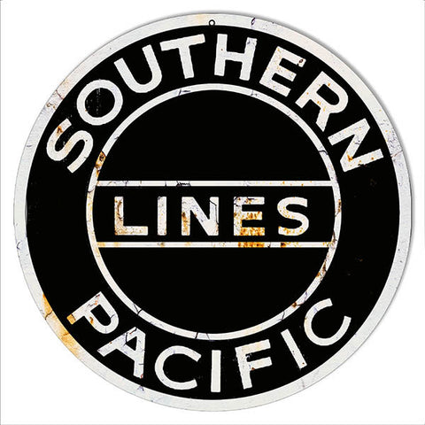 Distressed Southern Pacific Lines Reproduction Railroad Metal  Sign 14″ Round
