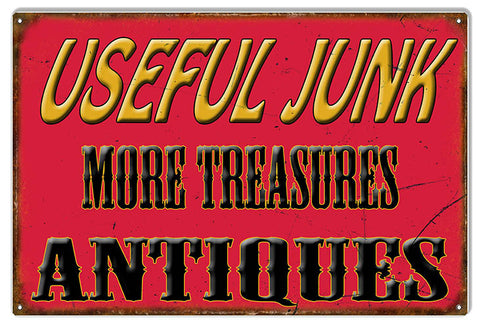 Antiques Useful Junk Nostalgic Metal  Sign 12″x18″