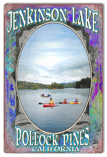 Jenkinson Lake Pollock Pines By Artist Phil Hamilton 12″x18″ Metal Sign