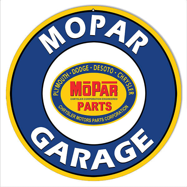 Mopar Garage Parts Reproduction Motor Oil Metal  Sign 14″ Round