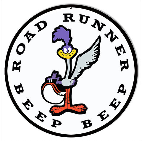 Road Runner Beep Beep Nostalgic Metal  Sign 14 Round