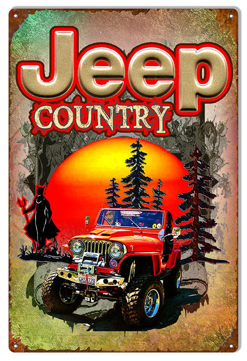 Jeep Country Reproduction Metal  Sign By Artist Phil Hamilton 12″x18″