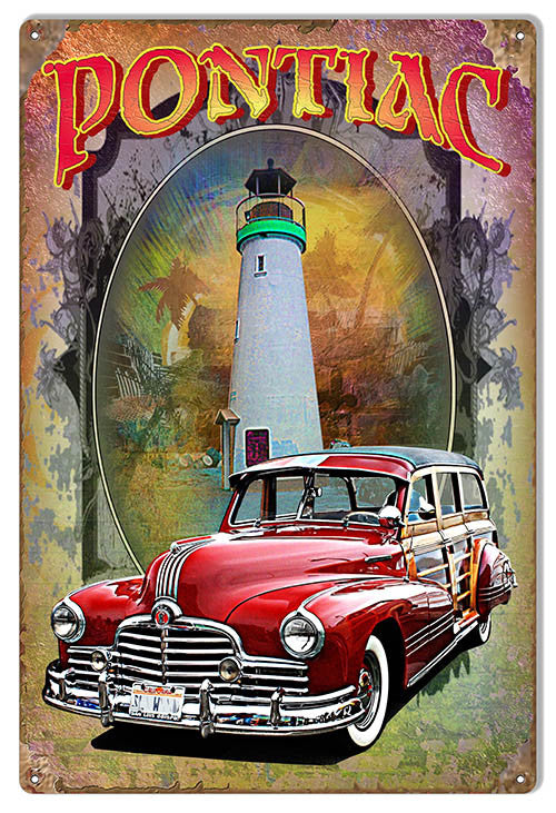 Pontiac Reproduction Metal  Sign By Artist Phil Hamilton 12″x18″