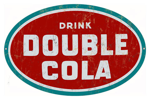 Drink Double Cola Nostalgic Reproduction Metal  Sign 11″x18″ Oval