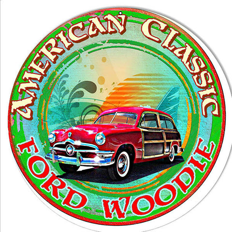 Classic Ford Woodie Reproduction Metal  Sign By Artist Phil Hamilton 14″x14″