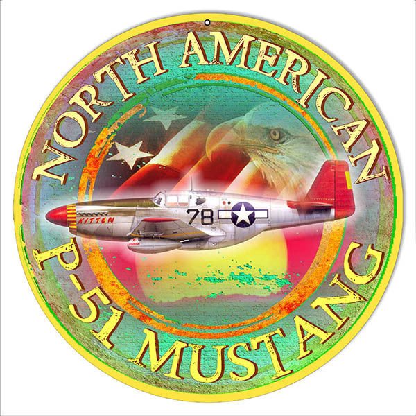 American P-51 Mustang Reproduction Metal  Sign By Artist Phil Hamilton 14″x14″