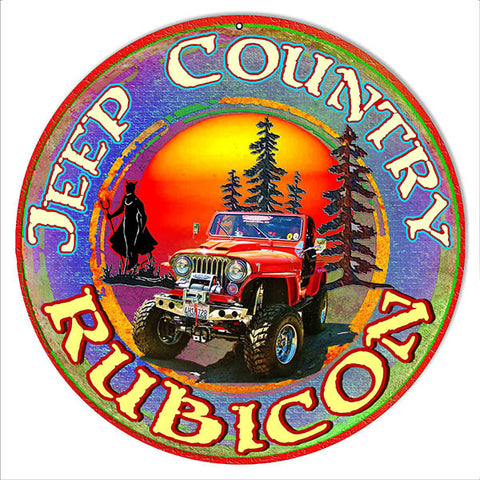 Rubicon Jeep Reproduction Metal  Sign By Artist Phil Hamilton 14″x14″