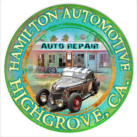 Hamilton Automotive Highgrove Ca By Artist Phil Hamilton 14″x14″ Metal Sign