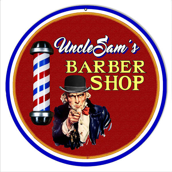 Barber Shop Uncle Sams Reproduction Metal  Sign 14″x14″