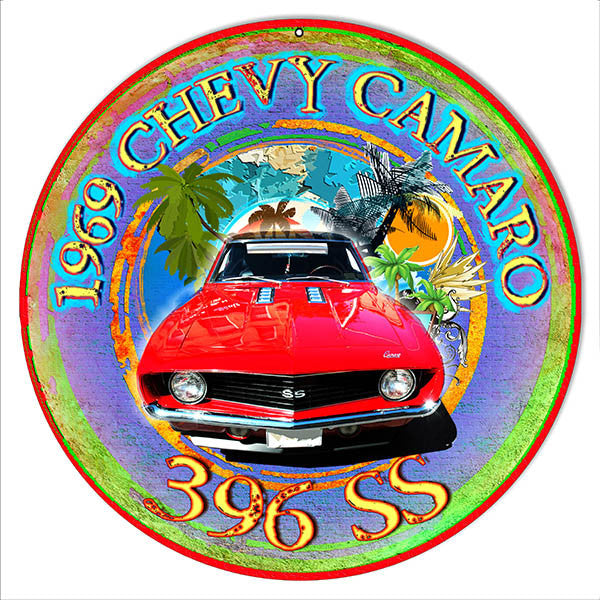 396 SS Camaro Reproduction Metal  Sign By Artist Phil Hamilton 14″x14″
