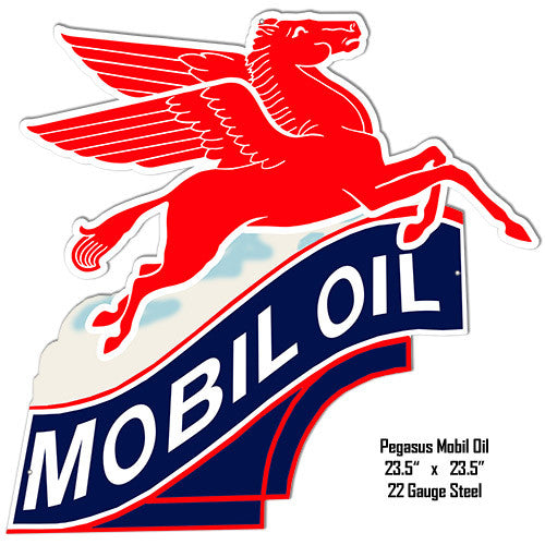 Mobil Oil Laser Cut Out Reproduction Metal  Sign 23.5″x23.5″
