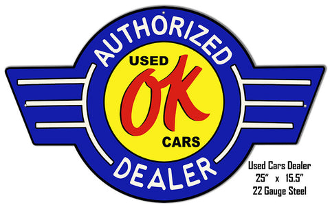 OK Cars Laser Cut Out Reproduction Metal  Sign 15.5″x25″