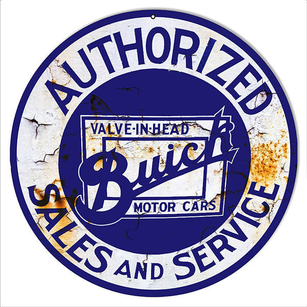 Authorized Buick Sales Reproduction Garage Shop Metal  Sign 14″x14″