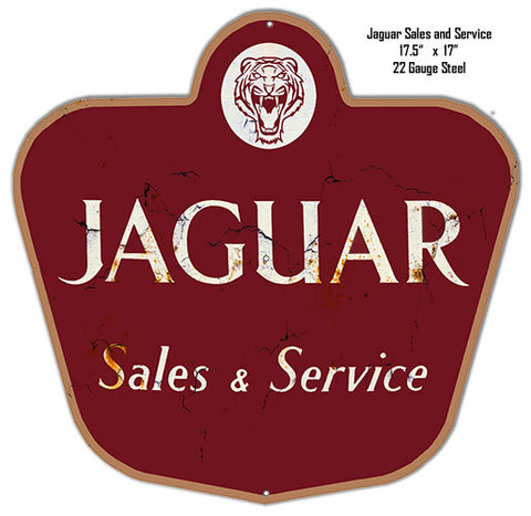 Jaguar Sales Reproduction Laser Cut Out Metal  Sign 17″x17.5″