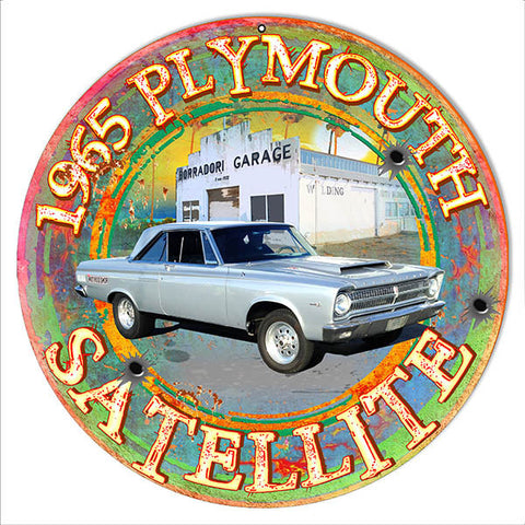 1965 Plymouth Reproduction Metal  Sign By Artist Phil Hamilton 14″x14″