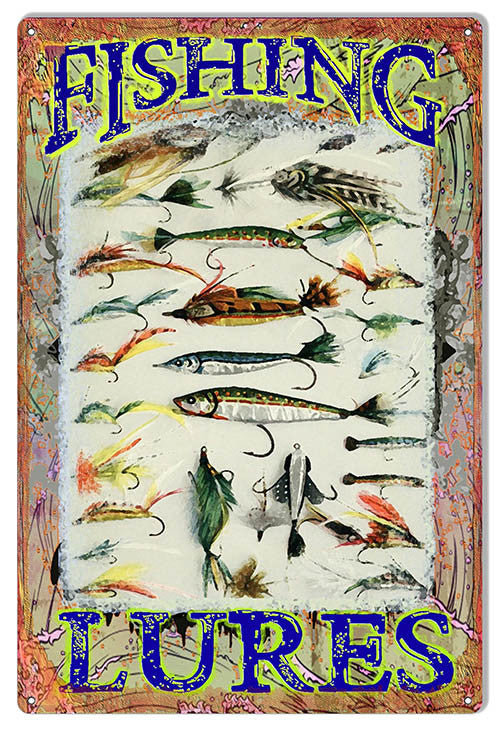 Fishing Lures Reproduction Hunting Fishing Metal  Sign 12″x18″
