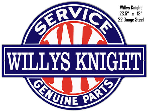 Willys Knight Service Laser Cut Out 18x23.5 Metal Sign
