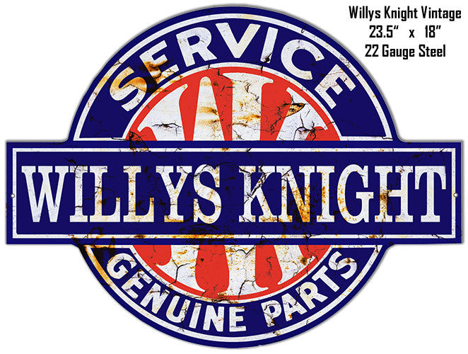 Distressed Willys Knight Laser Cut Out 18″x23.5″ Metal Sign